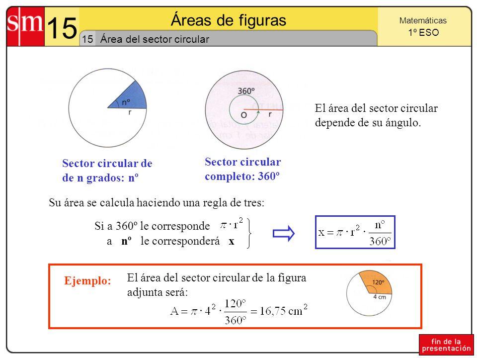 15 Áreas de figuras El área del sector circular depende de su ángulo.