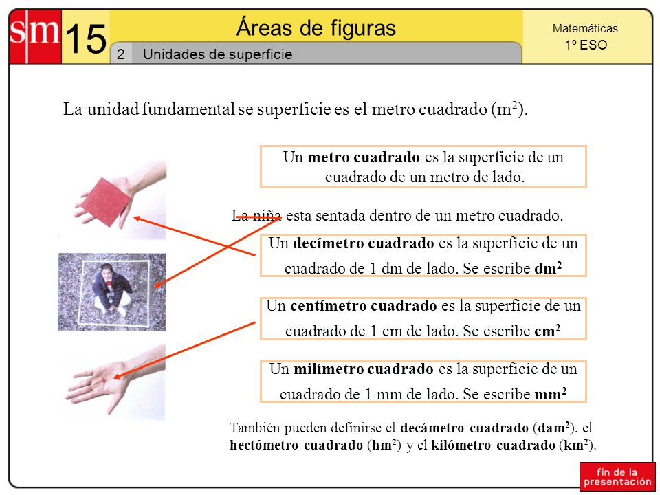 15 Áreas de figuras. Matemáticas. 1º ESO. 2. Unidades de superficie. La unidad fundamental se superficie es el metro cuadrado (m2).