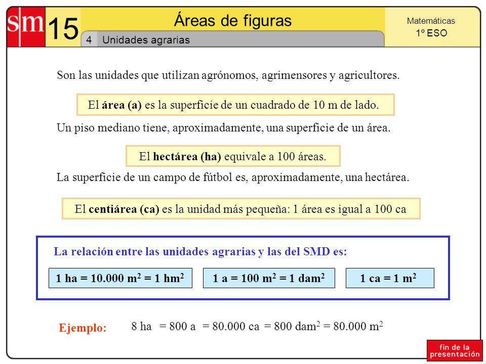 15 Áreas de figuras. Matemáticas. 1º ESO. 4. Unidades agrarias. Son las unidades que utilizan agrónomos, agrimensores y agricultores.