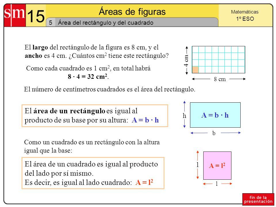 Como cada cuadrado es 1 cm2, en total habrá 8 · 4 = 32 cm2.