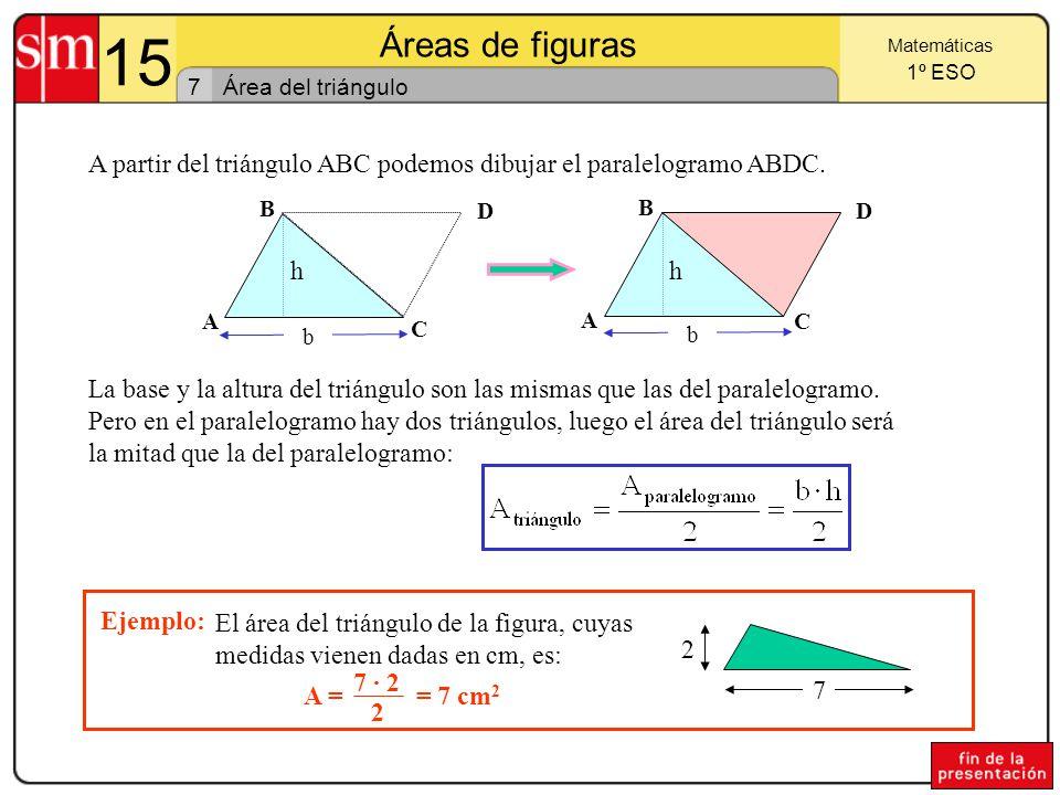 15 Áreas de figuras. Matemáticas. 1º ESO. 7. Área del triángulo. A partir del triángulo ABC podemos dibujar el paralelogramo ABDC.
