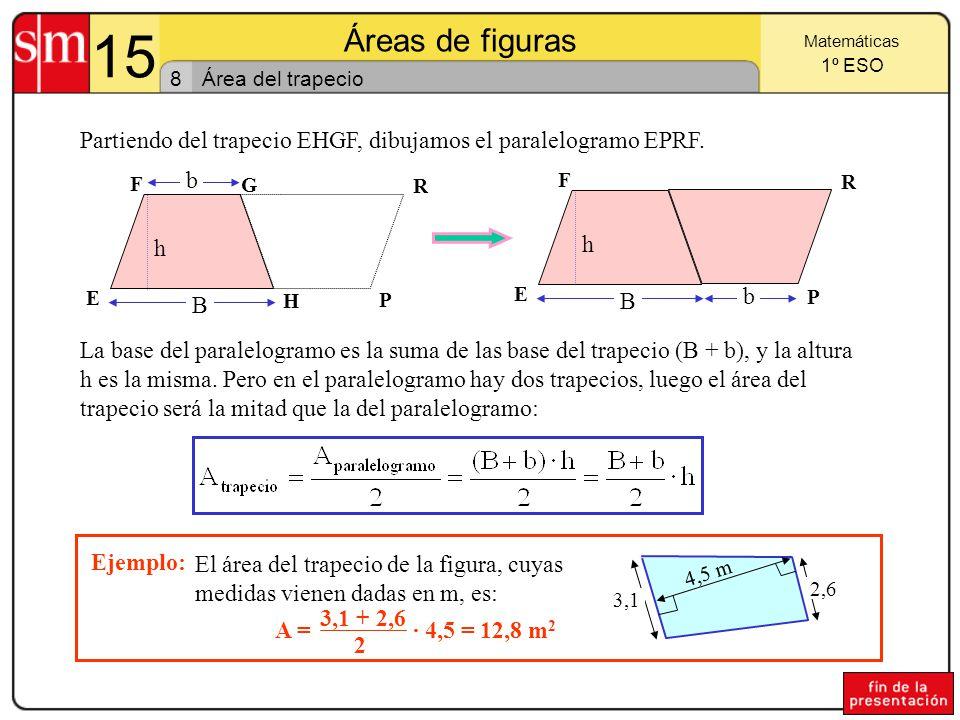 15 Áreas de figuras. Matemáticas. 1º ESO. 8. Área del trapecio. Partiendo del trapecio EHGF, dibujamos el paralelogramo EPRF.