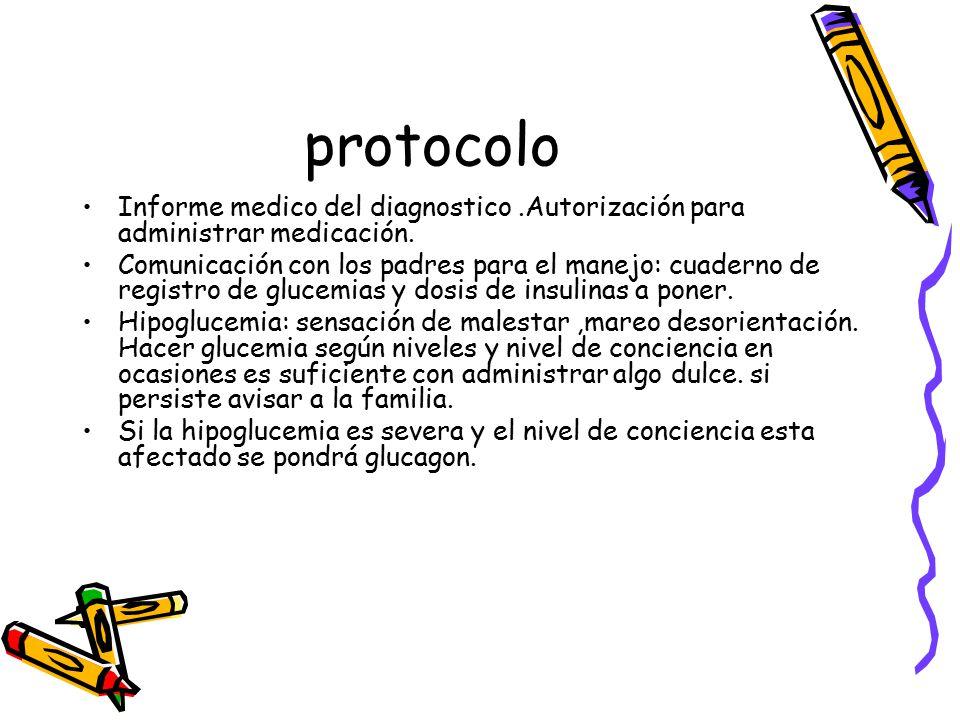 protocolo Informe medico del diagnostico .Autorización para administrar medicación.
