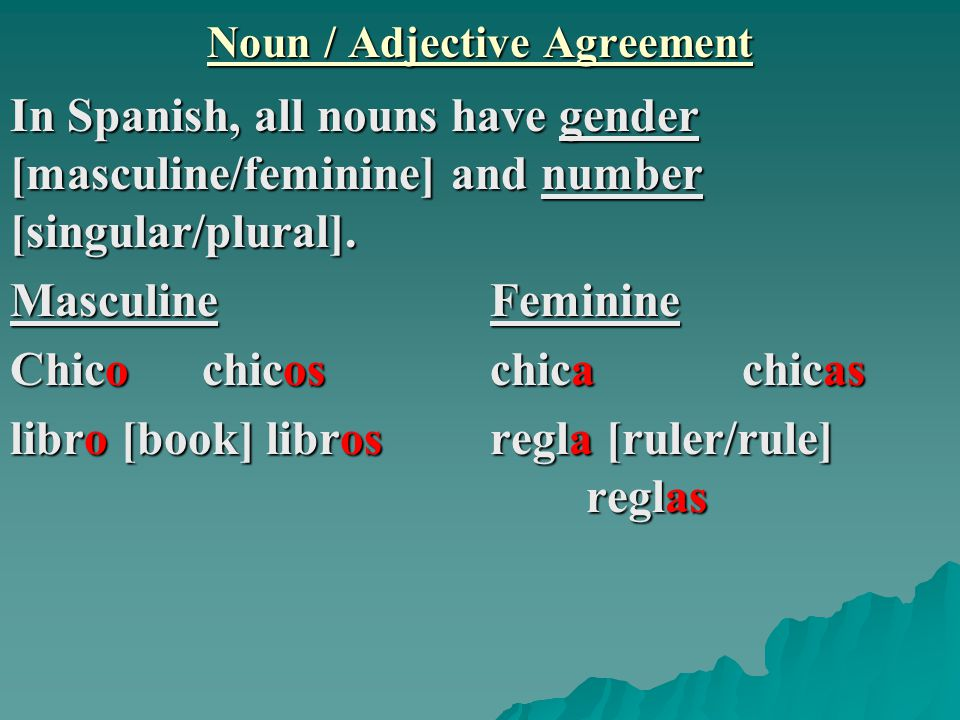 Spanish Noun Adjective Agreement Agreement Letter