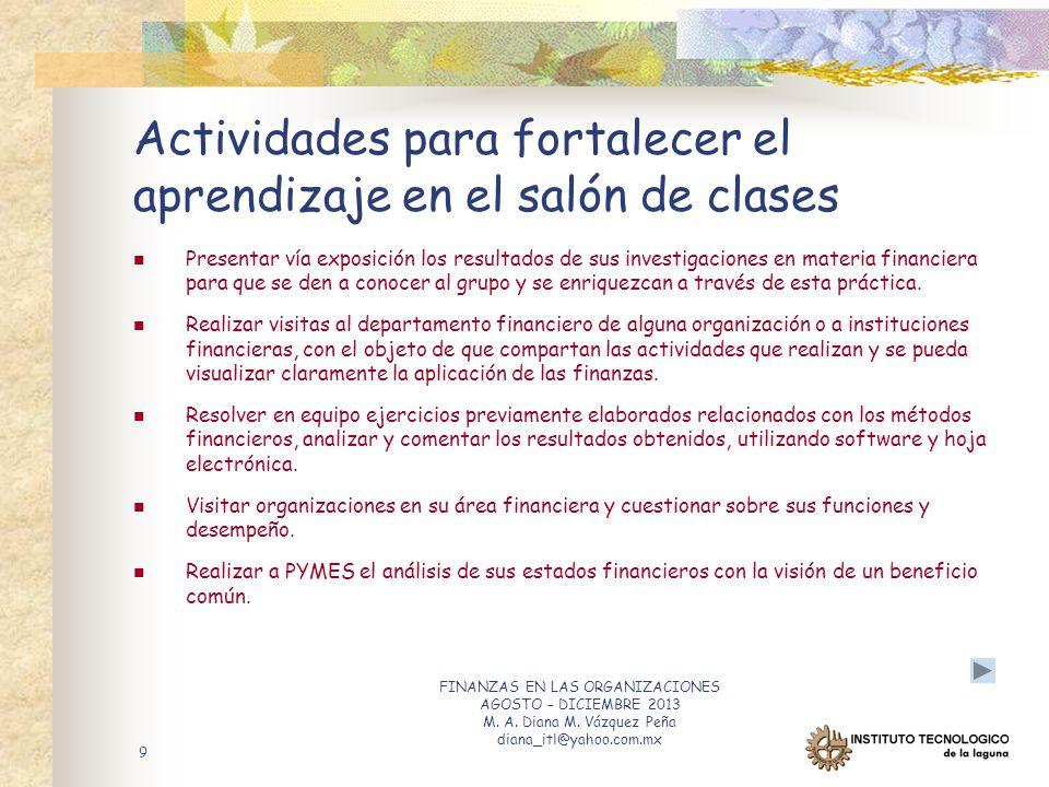 Finanzas en las organizaciones aef 1073 ppt descargar for Actividades divertidas para el salon de clases