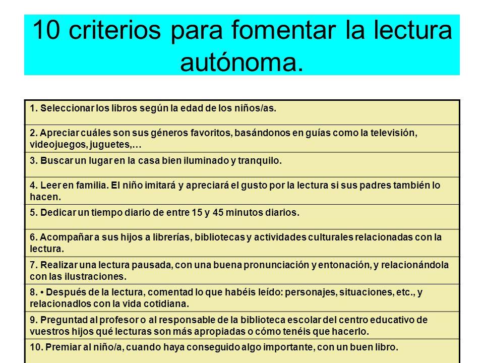 10 criterios para fomentar la lectura autónoma.