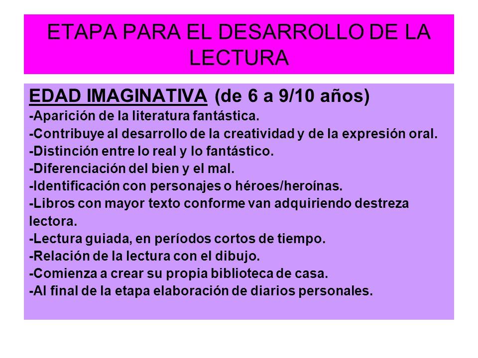 ETAPA PARA EL DESARROLLO DE LA LECTURA