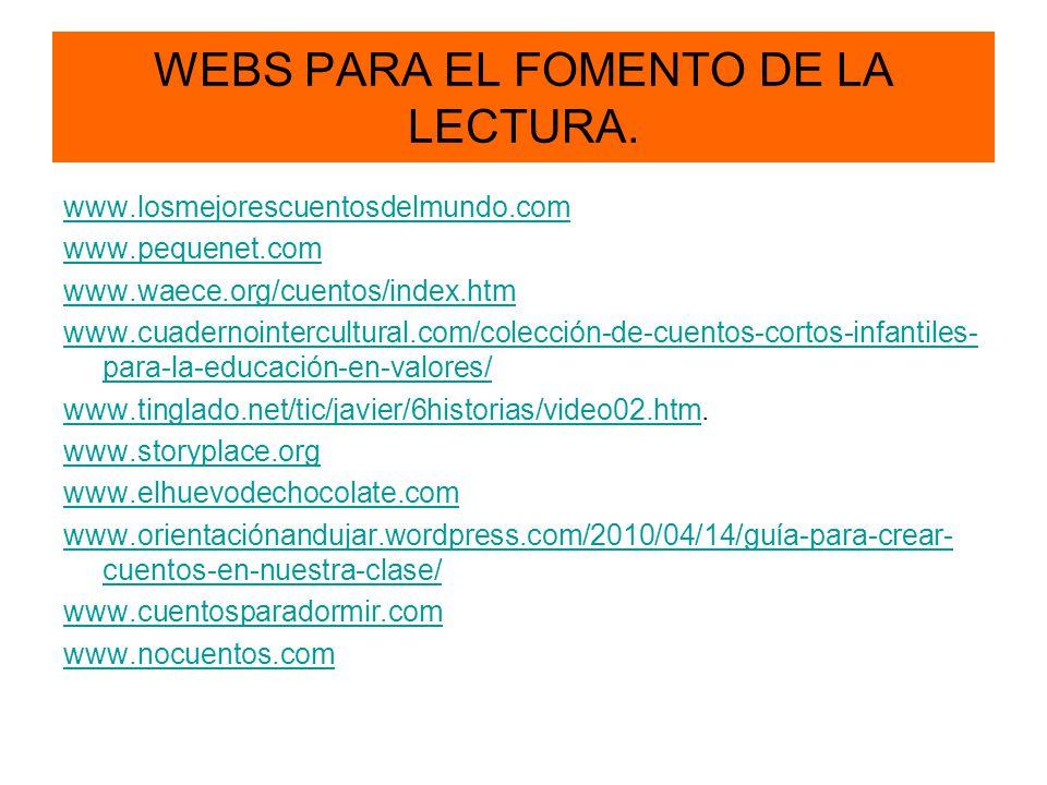 WEBS PARA EL FOMENTO DE LA LECTURA.