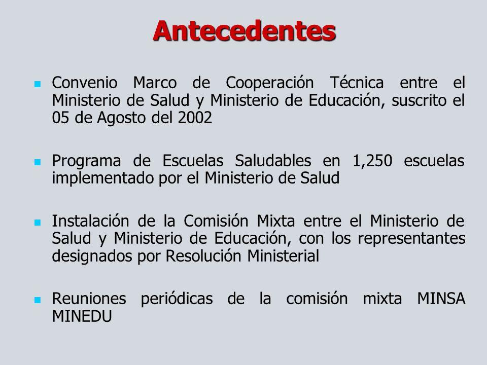 Antecedentes Convenio Marco de Cooperación Técnica entre el Ministerio de Salud y Ministerio de Educación, suscrito el 05 de Agosto del 2002.