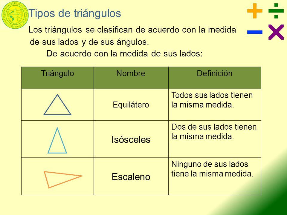 Los triángulos se clasifican de acuerdo con la medida