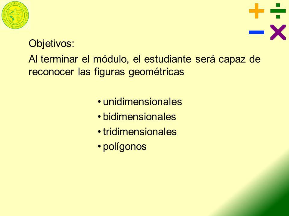 Objetivos: Al terminar el módulo, el estudiante será capaz de reconocer las figuras geométricas. unidimensionales.