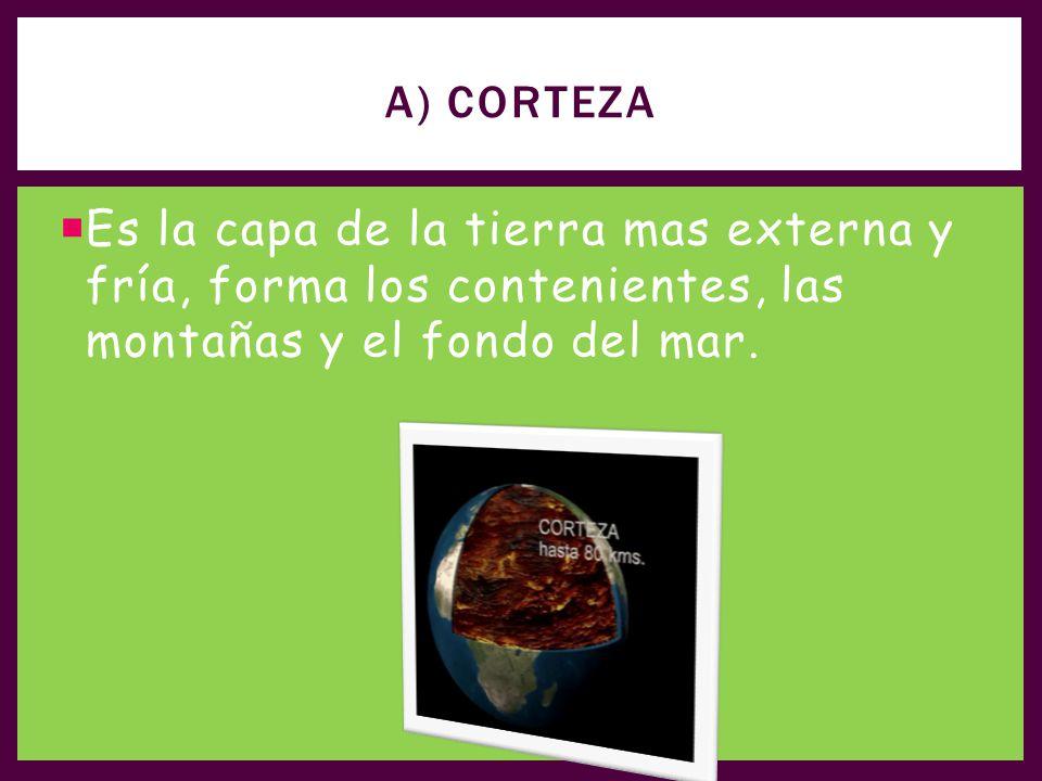 A) Corteza Es la capa de la tierra mas externa y fría, forma los contenientes, las montañas y el fondo del mar.