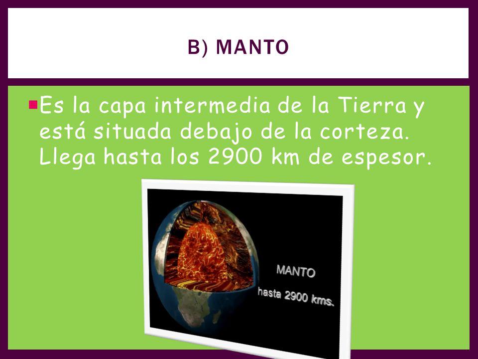 B) Manto Es la capa intermedia de la Tierra y está situada debajo de la corteza.