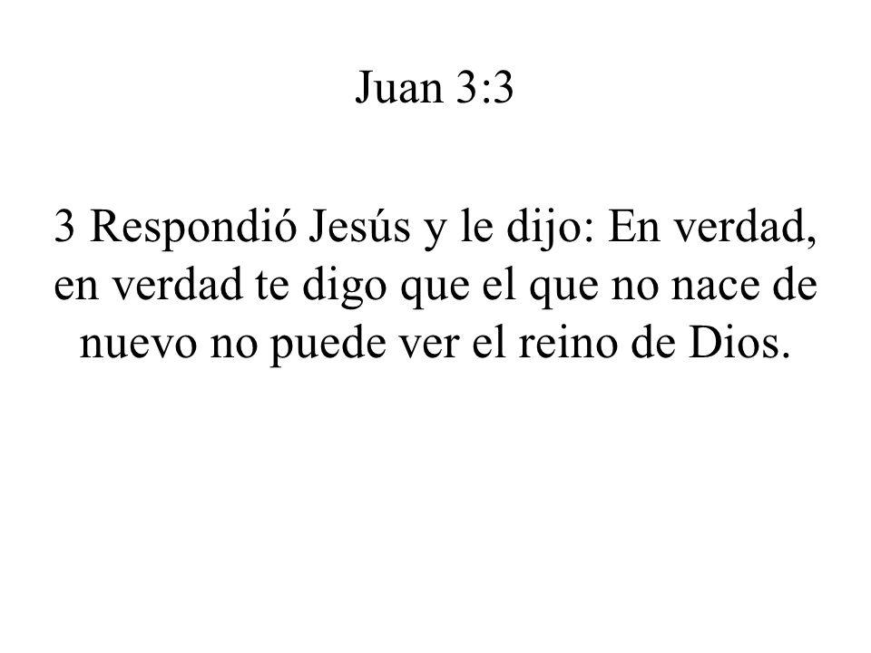 Juan 3:3 3 Respondió Jesús y le dijo: En verdad, en verdad te digo que el que no nace de nuevo no puede ver el reino de Dios.