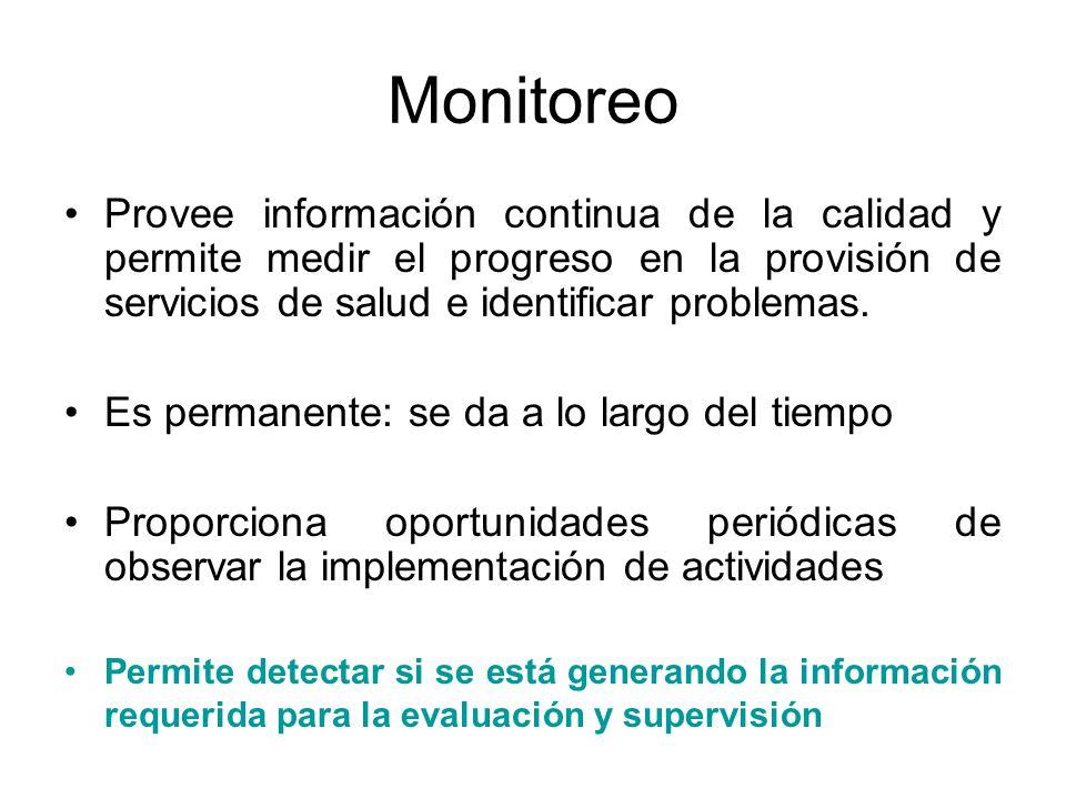 Monitoreo Provee información continua de la calidad y permite medir el progreso en la provisión de servicios de salud e identificar problemas.