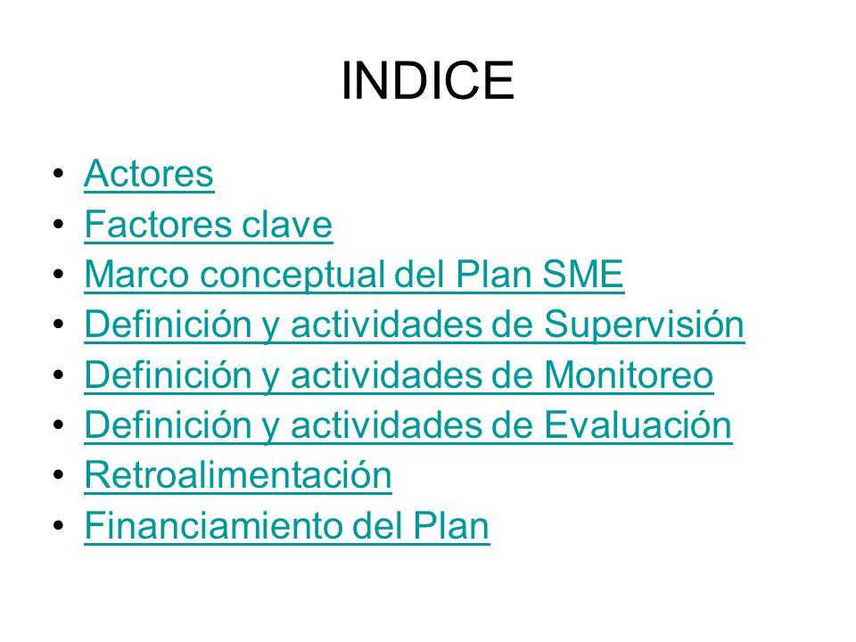 INDICE Actores Factores clave Marco conceptual del Plan SME