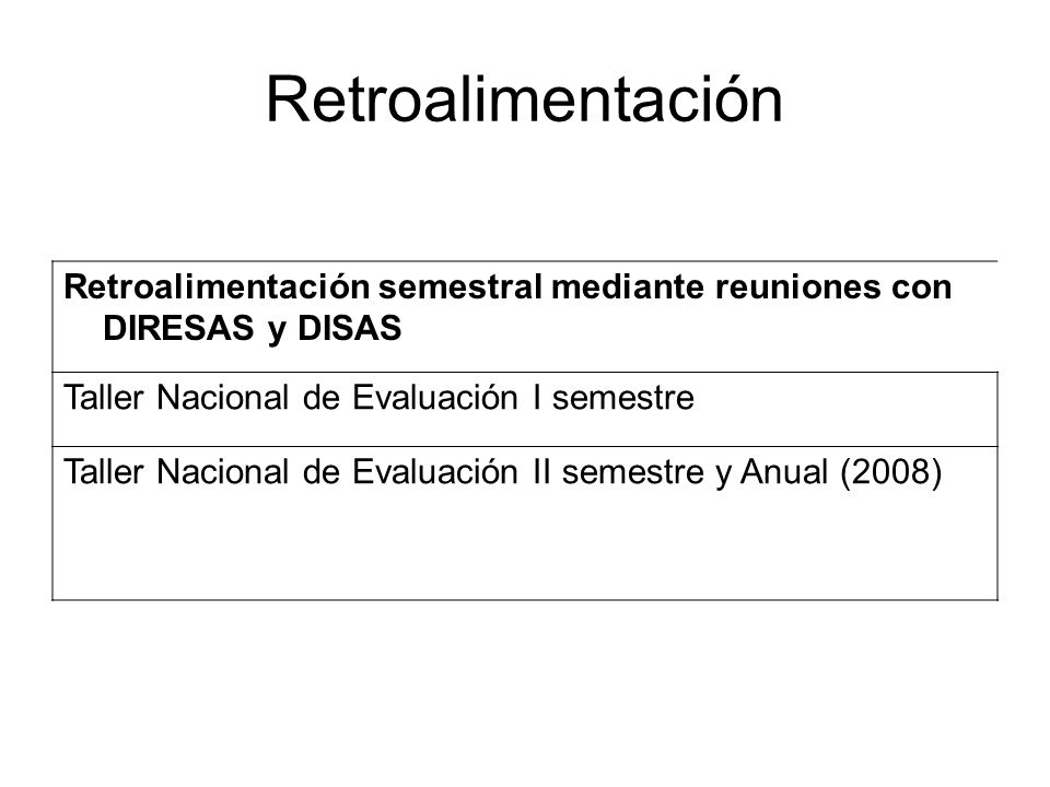 Retroalimentación Retroalimentación semestral mediante reuniones con DIRESAS y DISAS. Taller Nacional de Evaluación I semestre.