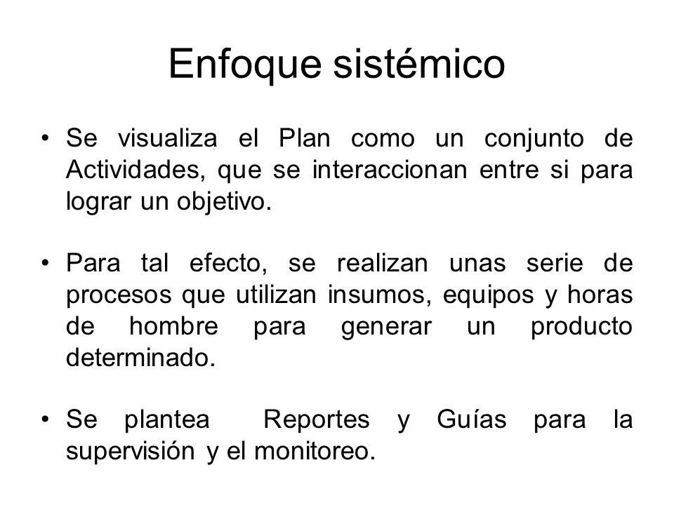 Enfoque sistémico Se visualiza el Plan como un conjunto de Actividades, que se interaccionan entre si para lograr un objetivo.