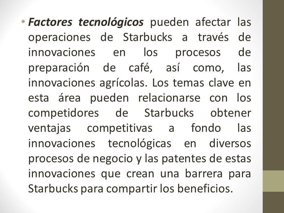 Factores tecnológicos pueden afectar las operaciones de Starbucks a través de innovaciones en los procesos de preparación de café, así como, las innovaciones agrícolas. Los temas clave en esta área pueden relacionarse con los competidores de Starbucks obtener ventajas competitivas a fondo las innovaciones tecnológicas en diversos procesos de negocio y las patentes de estas innovaciones que crean una barrera para Starbucks para compartir los beneficios.