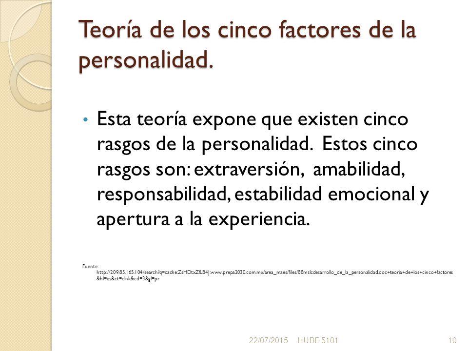 Teoría de los cinco factores de la personalidad.