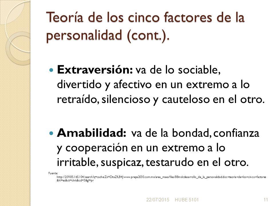Teoría de los cinco factores de la personalidad (cont.).
