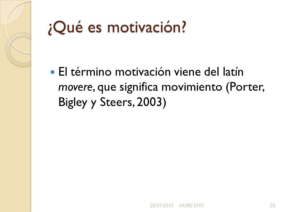 ¿Qué es motivación El término motivación viene del latín movere, que significa movimiento (Porter, Bigley y Steers, 2003)