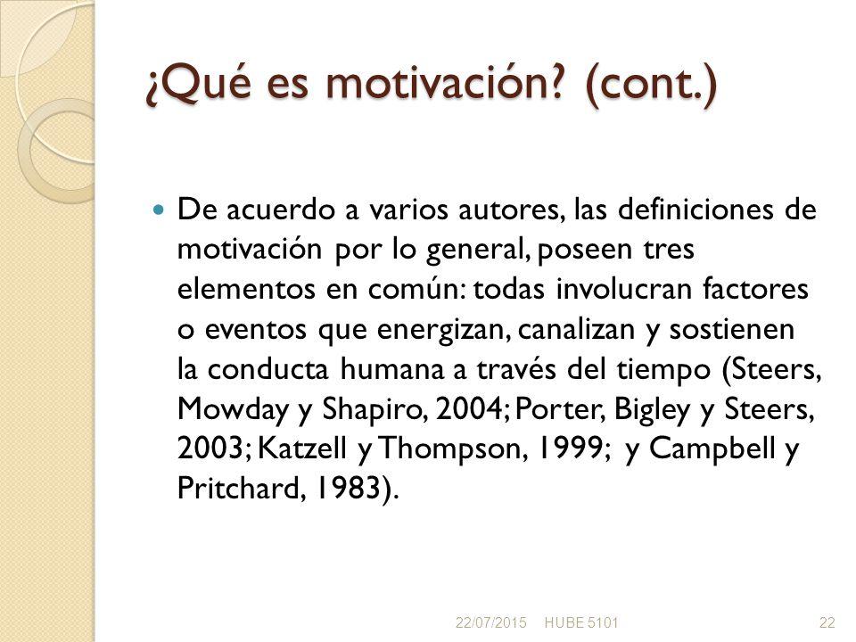 ¿Qué es motivación (cont.)