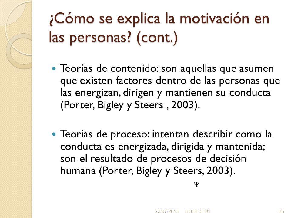 ¿Cómo se explica la motivación en las personas (cont.)