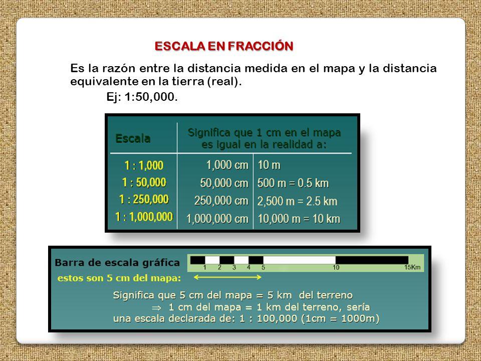 ESCALA EN FRACCIÓN Es la razón entre la distancia medida en el mapa y la distancia equivalente en la tierra (real).