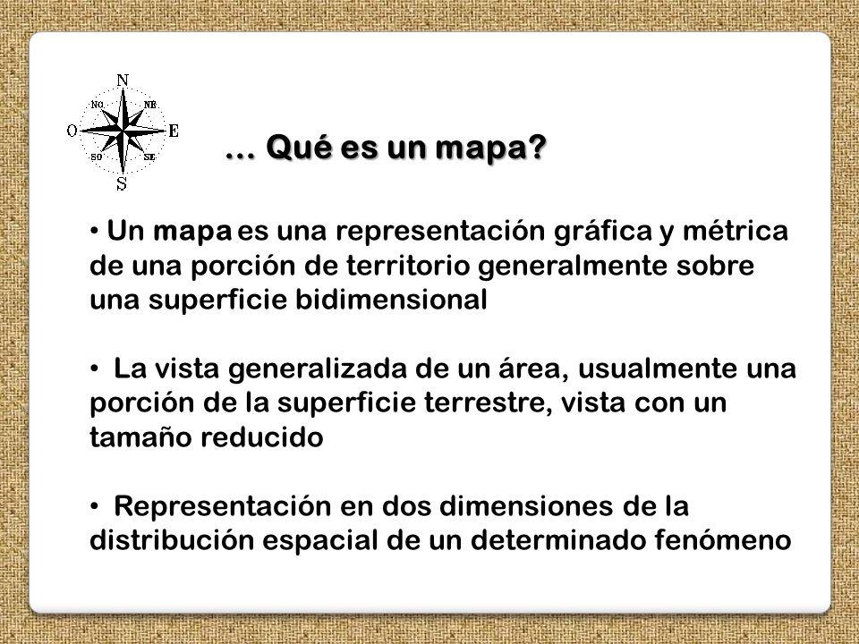 … Qué es un mapa Un mapa es una representación gráfica y métrica de una porción de territorio generalmente sobre una superficie bidimensional.