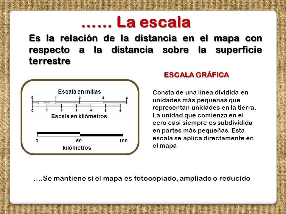 …… La escala Es la relación de la distancia en el mapa con respecto a la distancia sobre la superficie terrestre.