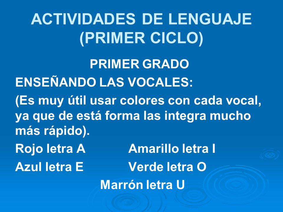 ACTIVIDADES DE LENGUAJE (PRIMER CICLO)