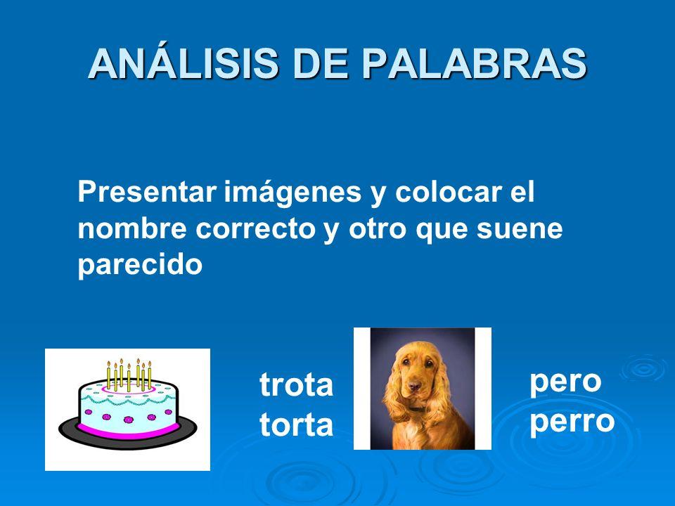 ANÁLISIS DE PALABRAS pero trota perro torta