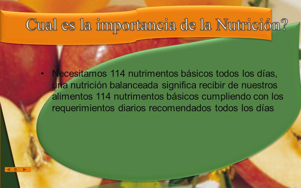 Cual es la importancia de la Nutrición