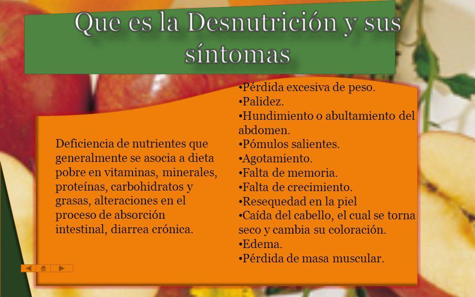 Que es la Desnutrición y sus síntomas