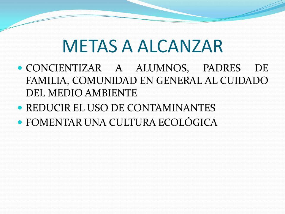 METAS A ALCANZAR CONCIENTIZAR A ALUMNOS, PADRES DE FAMILIA, COMUNIDAD EN GENERAL AL CUIDADO DEL MEDIO AMBIENTE.