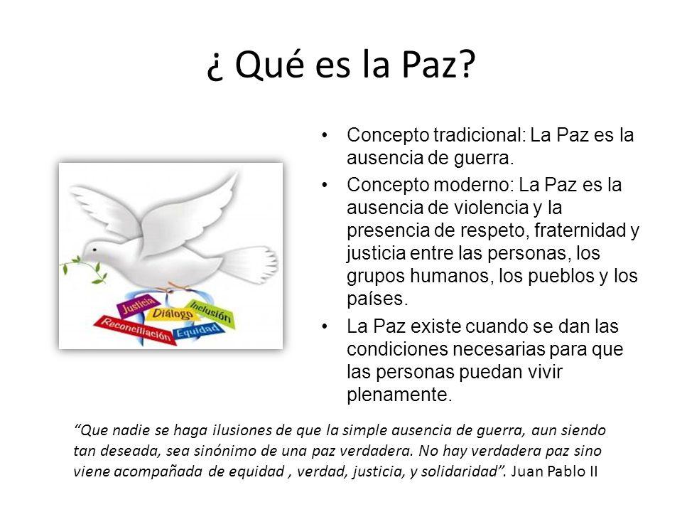 ¿ Qué es la Paz Concepto tradicional: La Paz es la ausencia de guerra.
