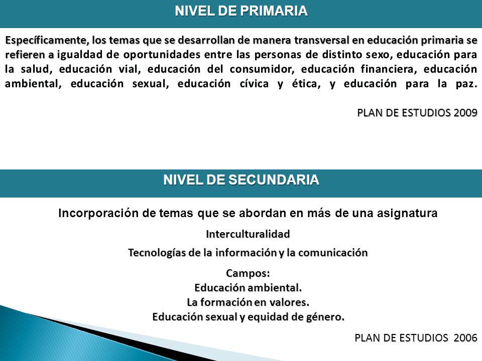 NIVEL DE PRIMARIA NIVEL DE SECUNDARIA