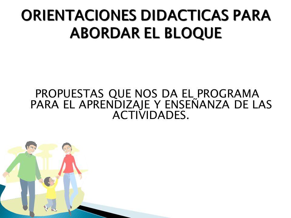 ORIENTACIONES DIDACTICAS PARA ABORDAR EL BLOQUE