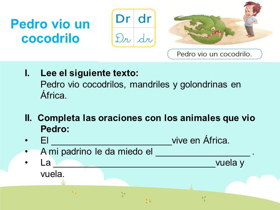 Pedro vio un cocodrilo Lee el siguiente texto: