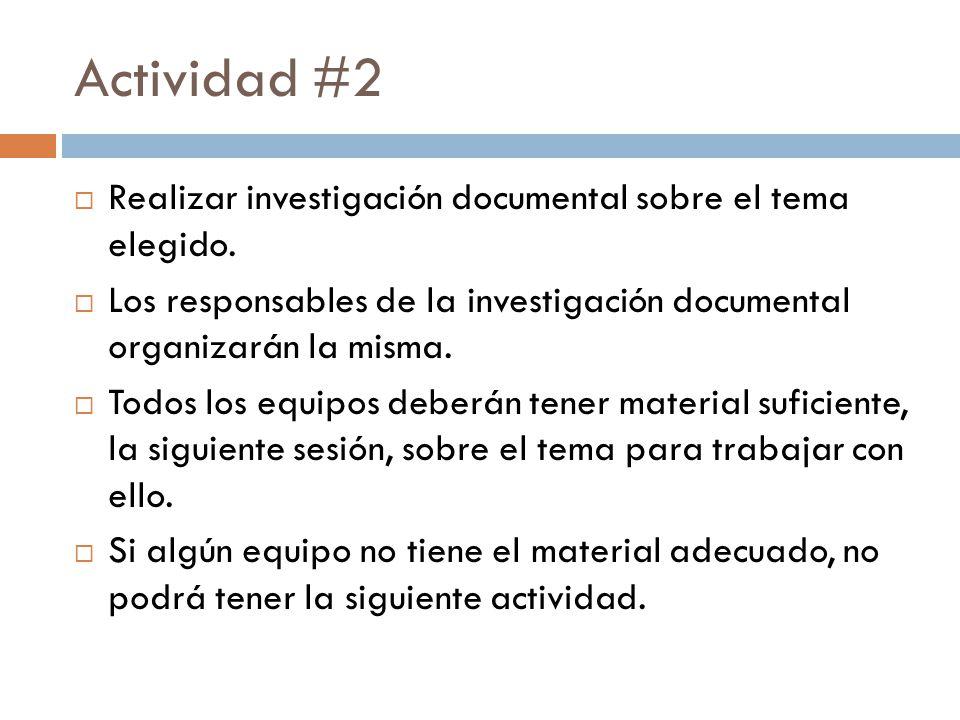 Actividad #2 Realizar investigación documental sobre el tema elegido.