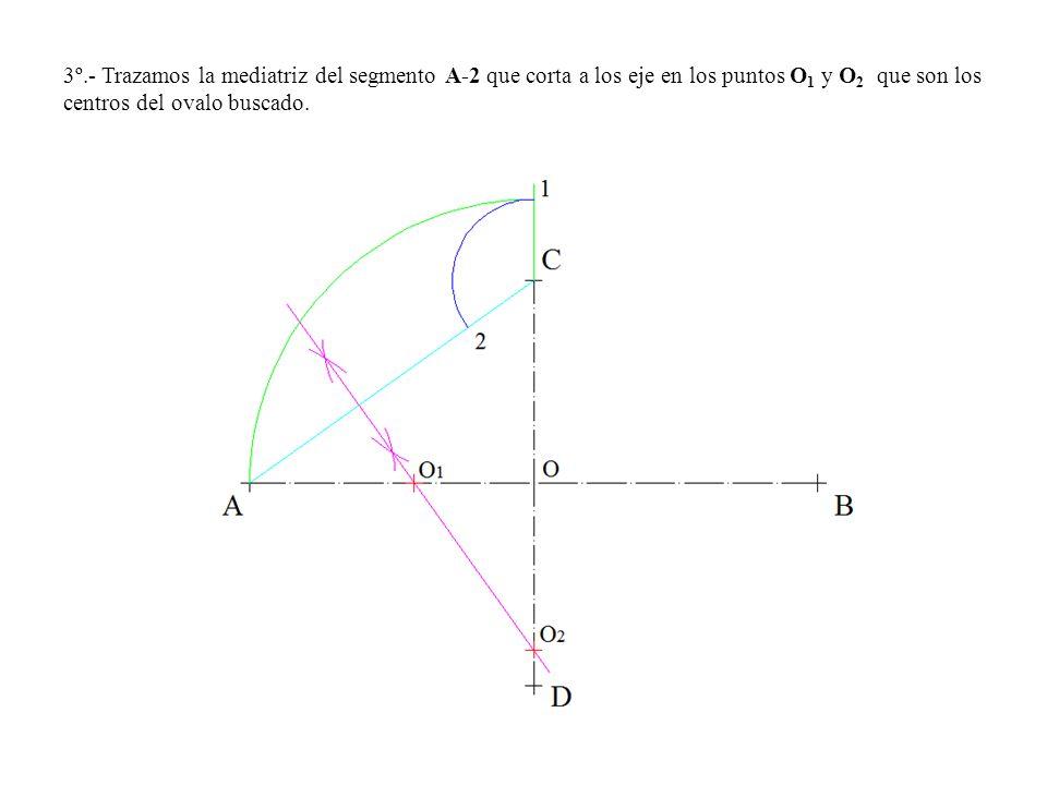 3º.- Trazamos la mediatriz del segmento A-2 que corta a los eje en los puntos O1 y O2 que son los centros del ovalo buscado.