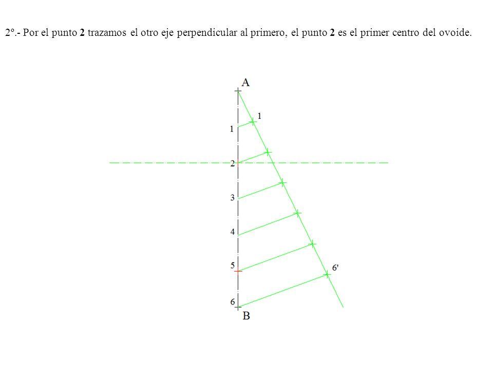 2º.- Por el punto 2 trazamos el otro eje perpendicular al primero, el punto 2 es el primer centro del ovoide.