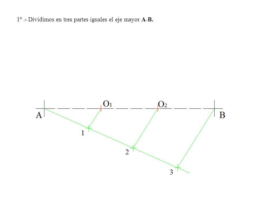 1º .- Dividimos en tres partes iguales el eje mayor A-B.