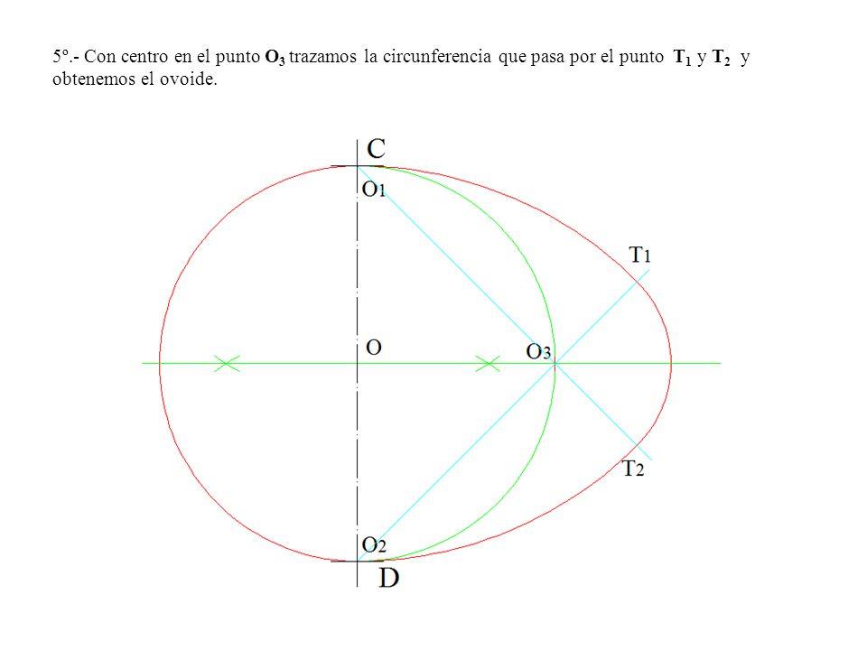 5º.- Con centro en el punto O3 trazamos la circunferencia que pasa por el punto T1 y T2 y obtenemos el ovoide.