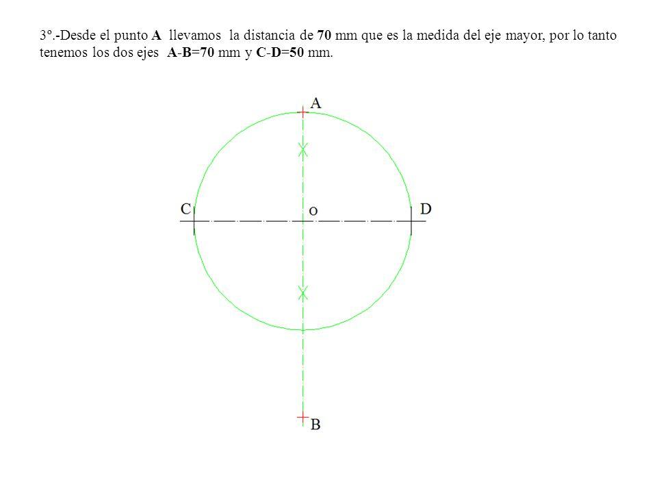 3º.-Desde el punto A llevamos la distancia de 70 mm que es la medida del eje mayor, por lo tanto tenemos los dos ejes A-B=70 mm y C-D=50 mm.