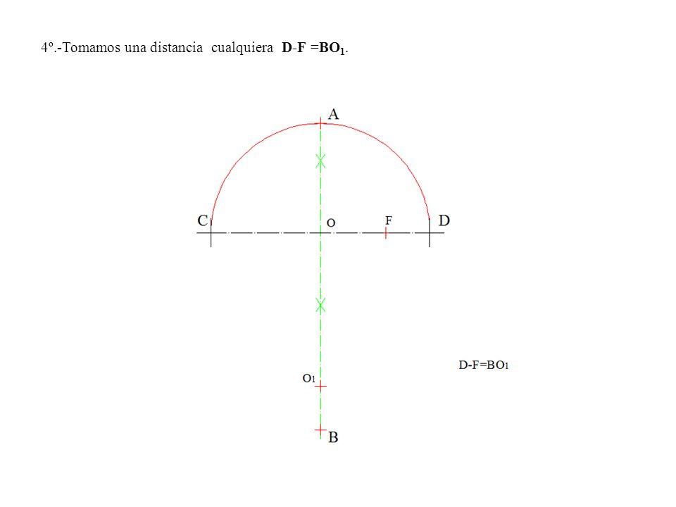4º.-Tomamos una distancia cualquiera D-F =BO1.