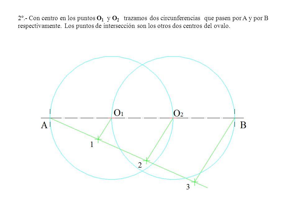 2º.- Con centro en los puntos O1 y O2 trazamos dos circunferencias que pasen por A y por B respectivamente.
