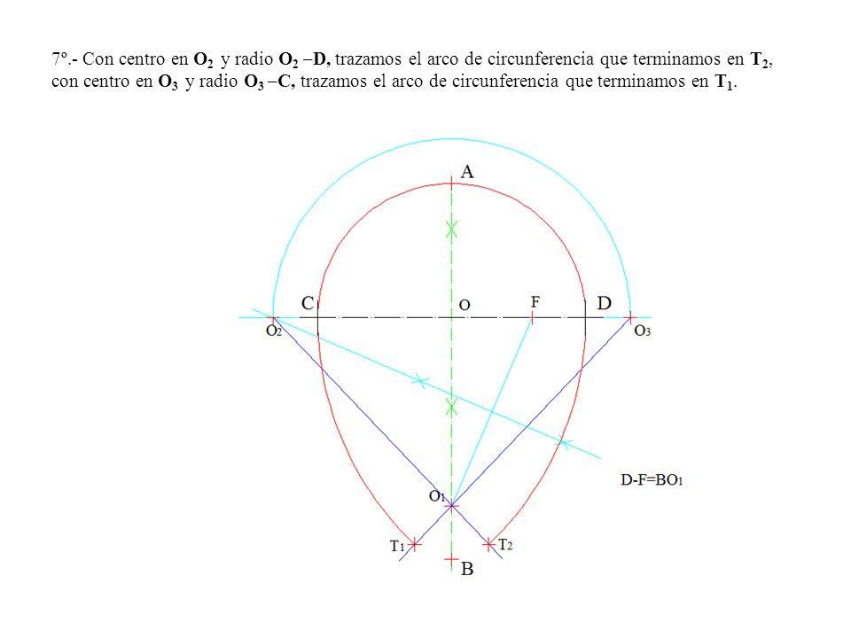 7º.- Con centro en O2 y radio O2 –D, trazamos el arco de circunferencia que terminamos en T2, con centro en O3 y radio O3 –C, trazamos el arco de circunferencia que terminamos en T1.