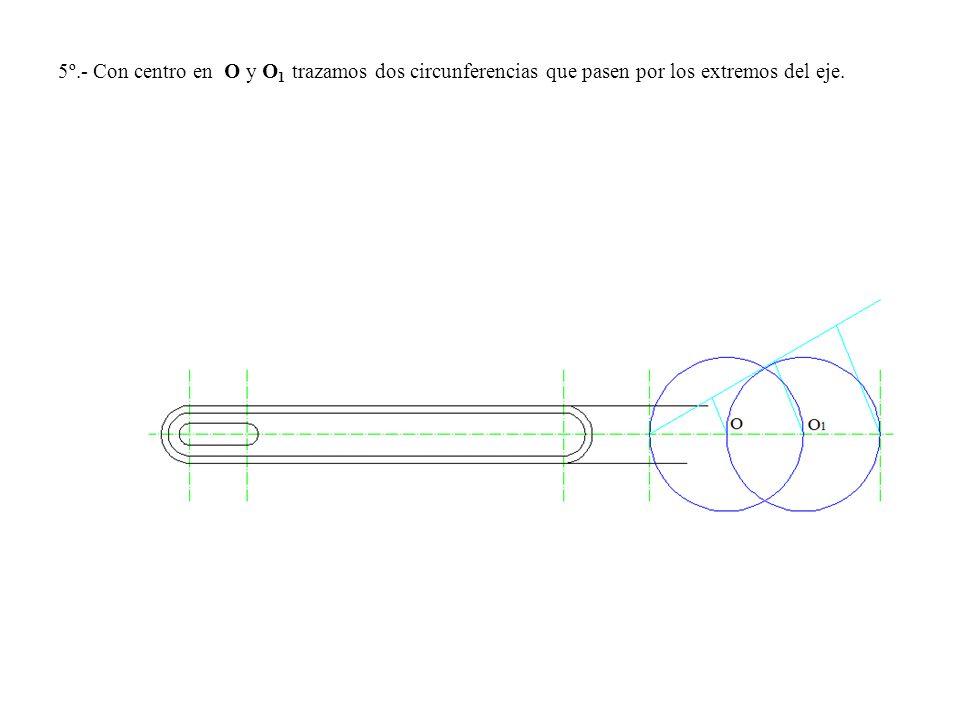 5º.- Con centro en O y O1 trazamos dos circunferencias que pasen por los extremos del eje.
